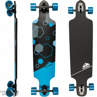 Longboard D Street Polygon Hex Drop Through 37.5 Blue