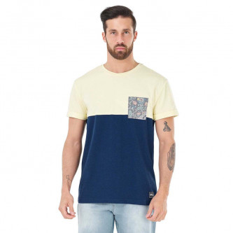 triko PICTURE Evans Pocket Yellow Dark Blue